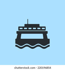 Modern style passenger and car ferry boat. Front view, flat icon. For maps, schemes, applications and infographics.
