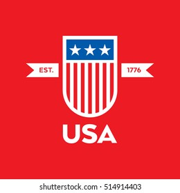 A modern style vector American crest featuring stars and stripes