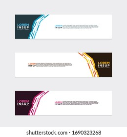 modern style of web banner template -abstract geometric web design banner template isolated on dark grey background