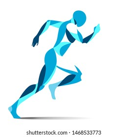 Modern stylised blue running male athlete in full stride sprinting for speed during a training workout or championship race isolated on white, vector illustration
