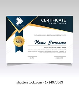 Modern and Stylish Certificate Template Design