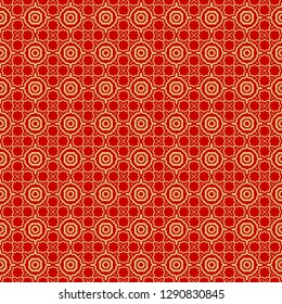 Modern Stylish Geometry Seamless Pattern Art Deco Background. Luxury Texture For Wallpaper, Invitation. Vector Illustration. Red gold color.