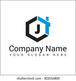 Modern and stylish logo design of J in vector for construction, home, real estate, building, property etc.