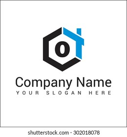 Modern and stylish logo design of O in vector for construction, home, real estate, building, property etc.