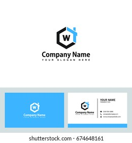 Modern and stylish logo design in vector for construction, home, real estate, building, property etc with visiting card design.