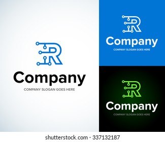 Modern stylish logo with letter R. Business Technology vector logotype design template. Creative concept icon. Corporate company identity.