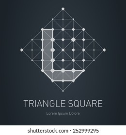 Modern stylish low poly logo with letter L. Low-poly Design element with squares, triangles and rhombus. Vector Lowpoly logotype template.