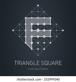 Modern stylish low poly logo with letter F. Low-poly Design element with squares, triangles and rhombus. Vector Lowpoly logotype template.