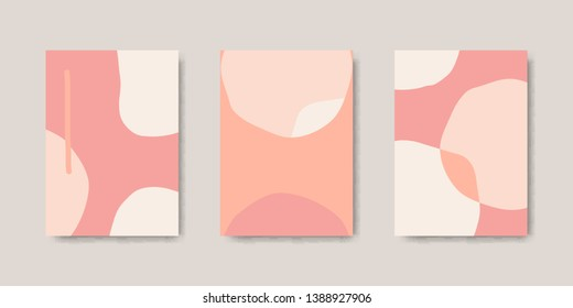 Modern and stylish poster templates with organic abstract shapes in pastel colors. Contemporary collage wedding invitations, flyers, newsletter, poster, greeting cards, packaging and branding design.