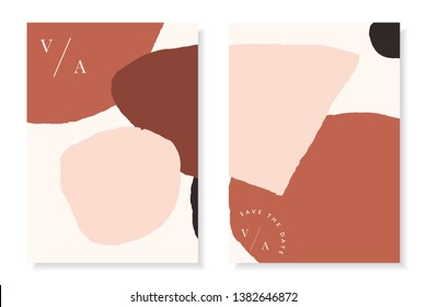 Modern and stylish templates with organic abstract shapes in brown and pastel pink with sample text. Contemporary collage wedding invitations, flyers, newsletter, poster, magazine cover, packaging.