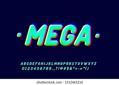 Modern and Stylish typeface, youth typography style, spectrum effect alphabet with full character Numbers and Symbols.