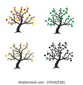 MODERN STYLIZED COLORFUL TREE SYMBOL WITH COLOR LEAVES