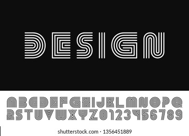 Modern stylized striped font - vector minimalistic design. Trendy english alphabet - simple linear latin letters and numerals. New creative signs typeface