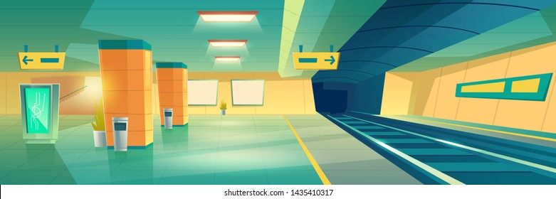 Modern subway, underground railroad station empty interior with illuminated advertising banner or signboard, subway, railway line transit map, direction pointing signposts cartoon vector illustration