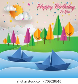Modern Summer Back To Nature Paper Art Style Happy Birthday Card Illustration