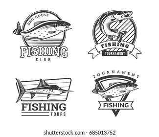 Modern Summer Fishing Logo Badge Illustration