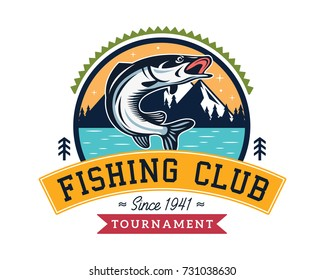 Modern Summer Fishing Logo Badge Illustration, Ideal For Fishing Club, Tournament, Restaurant, Fashion Apparel, Patch, Sticker, Sign, Event, And Many Other Fishing Related Activities