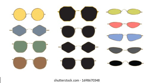 Modern sunglasses, 90s frames with trendy poligonal, round and slim oval shapes. Summer 2020.