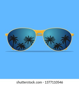 Modern sunglasses with palms reflection. Summer banner, poster, fresh, modern, advertisement. Vector illustration in flat style