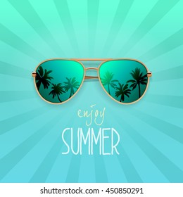 Modern sunglasses with palms reflection. Summer banner, poster, fresh, modern, advertisement