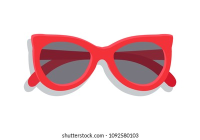 Modern sunglasses with round lenses vector banner, illustration of eyewear that protect eyes from summer sun, pretty design of glasses in red case