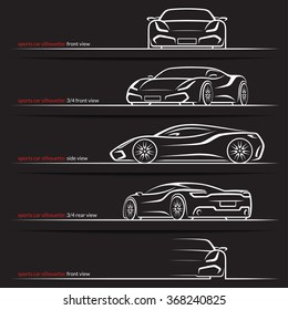 Modern super car, sports car vector silhouettes, outlines, contours isolated on black background. Front, rear and side views.