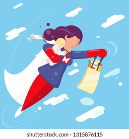 Modern super hero mother flying clouds sky child in hand character flat design vector illustration