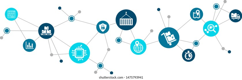 Modern supply chain management icon concept: digitalization & automation in logistics – vector illustration
