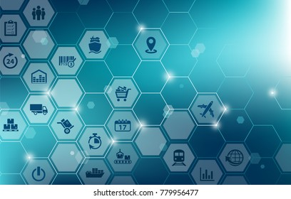 modern supply chain management vector illustration