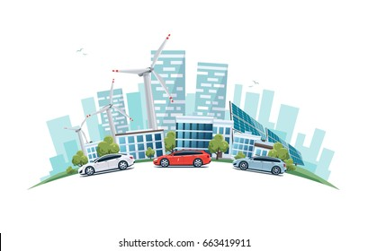 Modern sustainable city with cars on street in cartoon style arranged in arc. Solar panels and wind turbines with city skyscrapers building office skyline on white background. Eco green city theme.