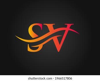 Modern SV logotype for luxury branding. Initial SV letter business logo design vector