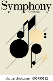 Modern symphony orchestra template. Vector Illustration.