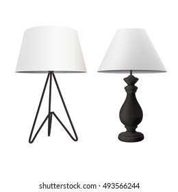 Lampshade images stock photos vectors shutterstock modern table lamp with white tapered lampshade on black tripod base and classic bedside lamp with greentooth Images