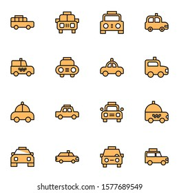 modern taxi icon set. creative taxicab colored outline icons sign, vector illustration.