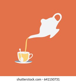 modern tea service & simple set. teapot & glass cup of hot tea vector cartoon clean isolated with a spoon on a Saucer. pouring herbal tea flat design style on orange background