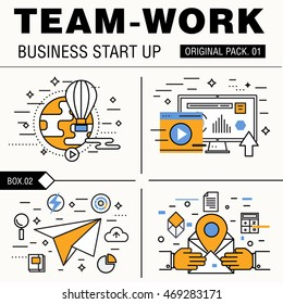 Modern team work pack. Thin line icons business works. Group people organization meeting future business industry elements. High quality vector symbol. Stroke pictogram for web design.