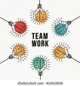 Modern teamwork concept design, colorful human brains in light bulb lamps working together as business team. EPS10 vector.