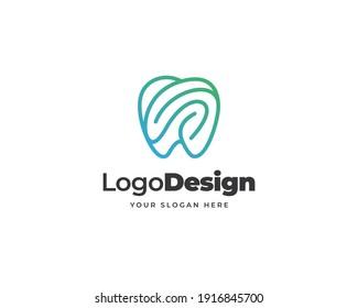 Modern tech dental logo vector. Minimalist line art teeth logo design