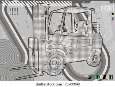 Modern technical illustration of a generic forklift.