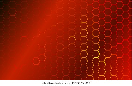 Modern technological background in the style of bee honeycombs. Bright orange and yellow glow from the hexagon. Ideal for web banners, blogs, posters, postcards, cover design
