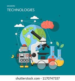 Modern technologies concept vector illustration. New robotics, microscope and laboratory glassware, human brain etc. Flat style design element for website template, poster, banner etc.
