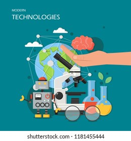 Modern technologies concept vector illustration. New robotics, microscope and laboratory glassware, human hand with human brain etc. Flat style design element for website template, poster banner etc.