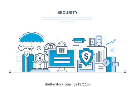 Modern technologies, security and data protection, payment security, finance and contributions, information. Illustration thin line design of vector doodles, infographics elements.