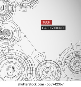 Modern technology background with detailed images of futuristic monochrome circles elements and circuitry vector illustration