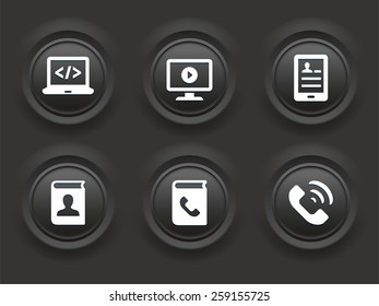 Modern Technology and Communication on Black Bevel Round Buttons