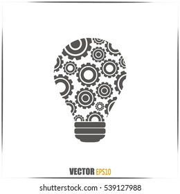 Modern Technology Concept , Idea Lightbulb.light bulb with gears and cogs working together