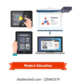 Modern technology in education flat icon set. Online and virtual learning experiences. EPS 10 vector.