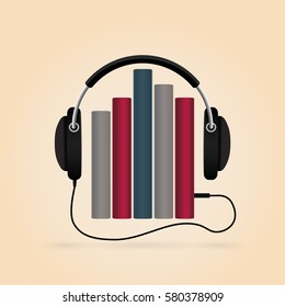 Modern technology. Headphones with books. Audio-book concept.