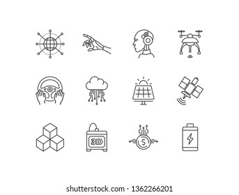 Modern technology, high tech line icons set with IOT, robotics, artificial intelligence, drone, self driving car, cloud computing, solar pv, satellite, 3D printer, e-money, battery.