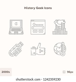 Modern technology and history icons 2000s. Technology and Scienc